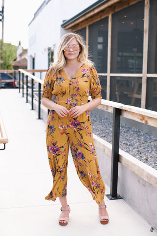 Riverwalk Button Down Jumpsuit, Mustard | Women's Clothing