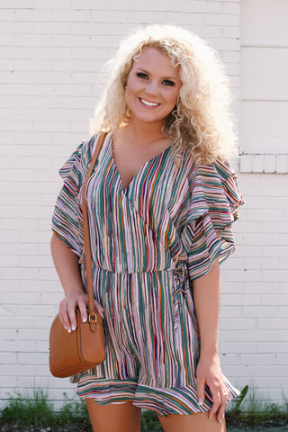 Striped Romper, Green Mix | Plus Size