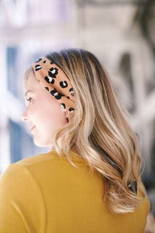 Leopard Neck Tie Fashion Scarf, Camel | Accessories