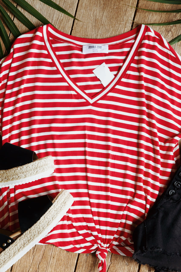Striped Knot Bottom Tee, Red