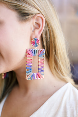 Rainbow Raffia Rectangular Earring, Rainbow