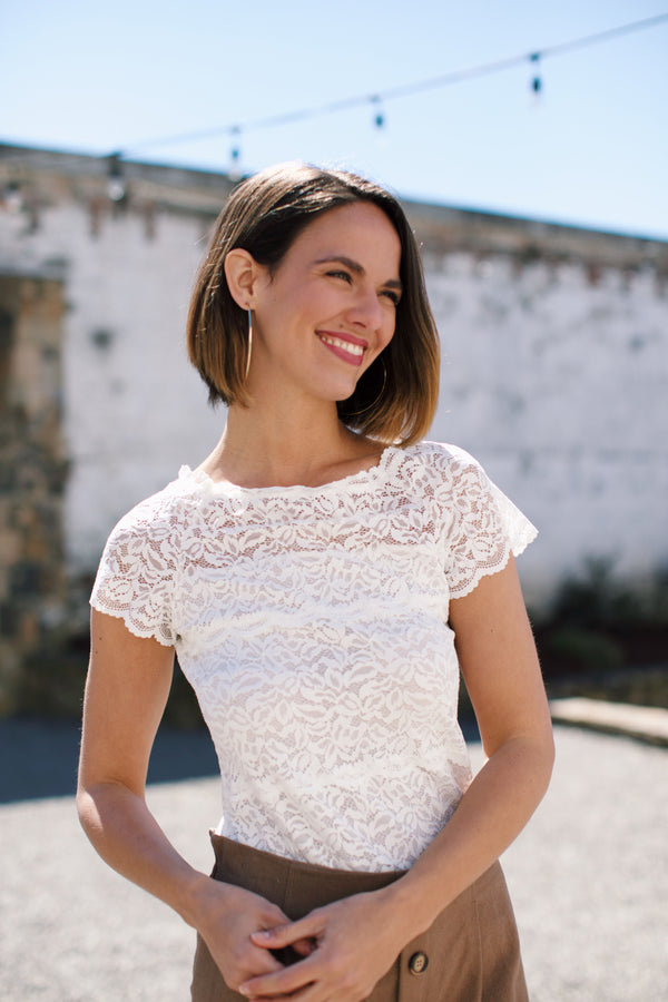 Lady In Lace Top, Ivory | Women's Tops