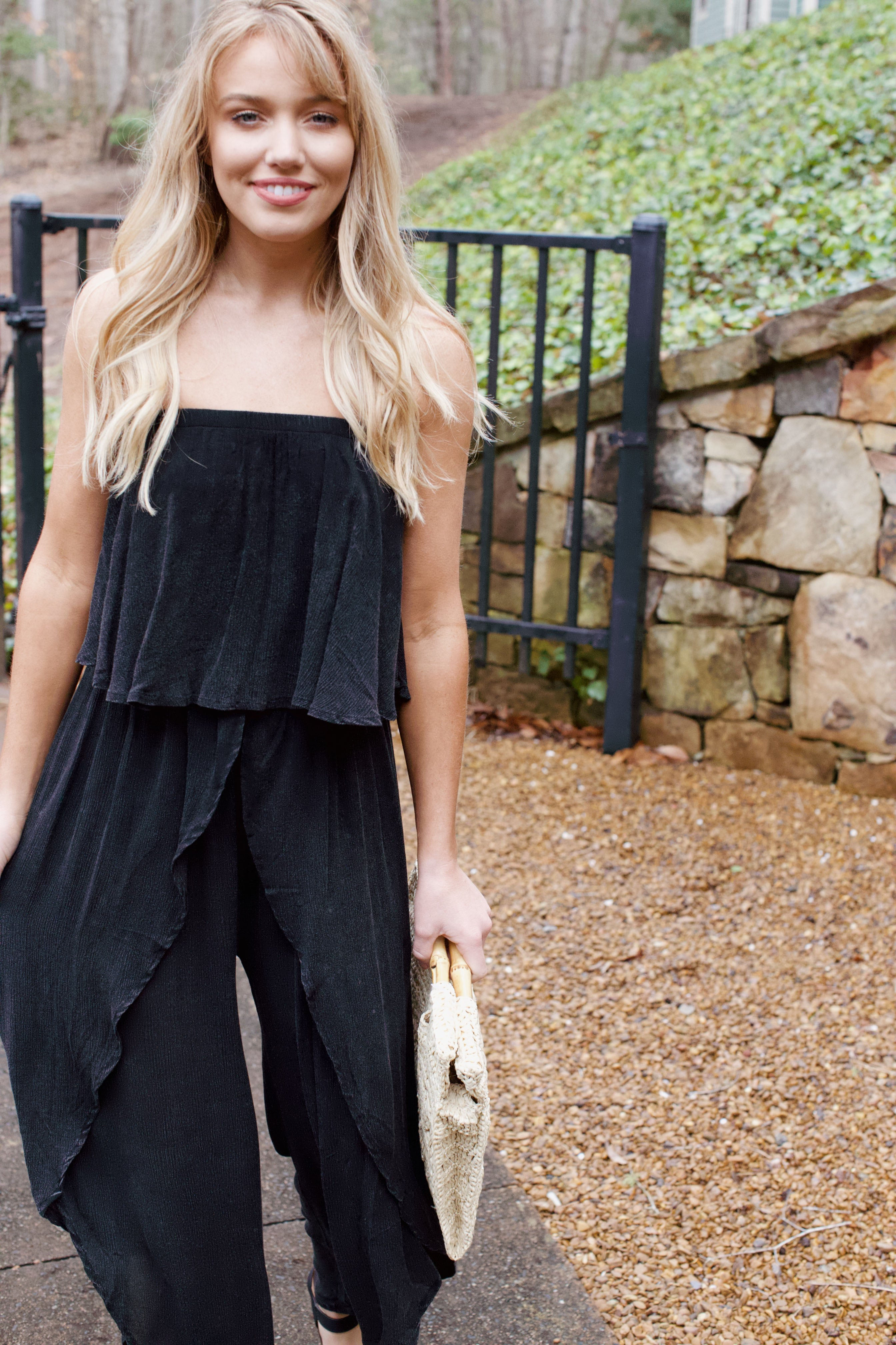 Midnight Off The Shoulder Jumpsuit, Black