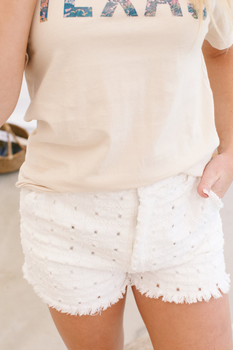 High Waisted Eyelet Short, White