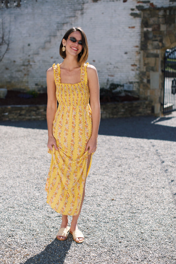 Daffodil Floral Maxi Easter Dress, Mustard | Women's Dresses