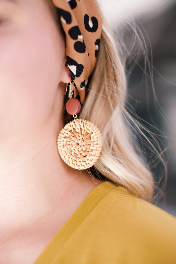 Rattan Dangle Drop Earring, Natural