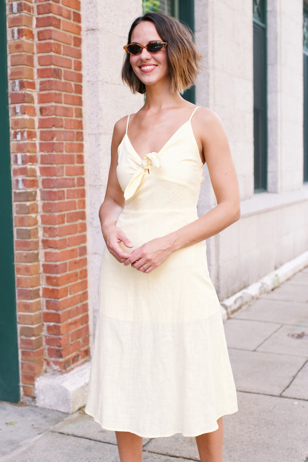 Lovely Linen Midi Dress, Lemon