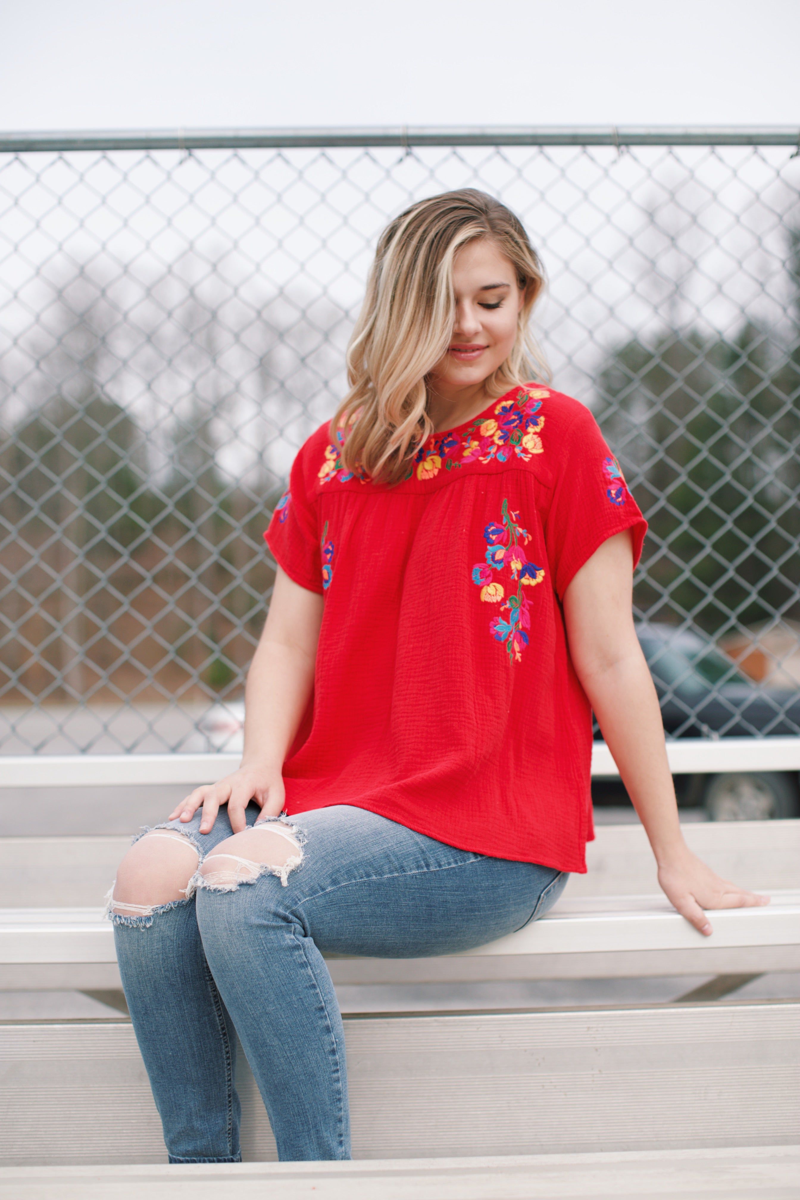 Odetta Embroidered Top, Red