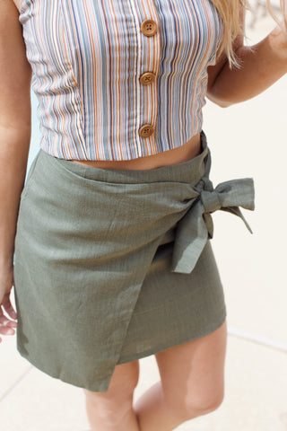 Jungle Wrap Around Linen Mini Skirt, Olive Green