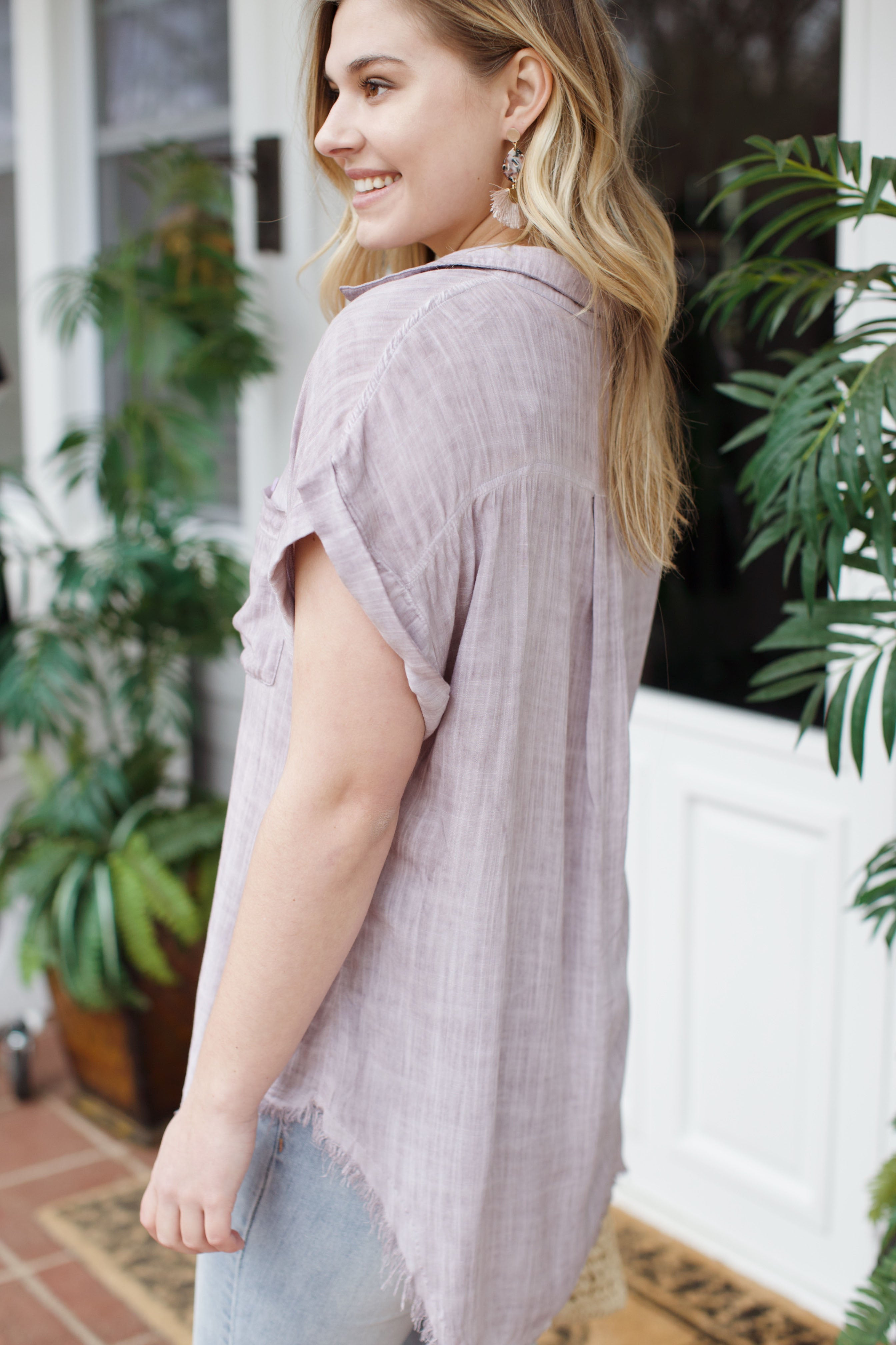 Lilac Dreams Button Up Top, Light Purple