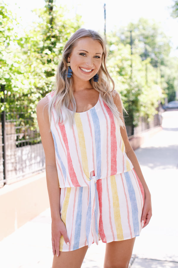 Water Colors Striped Romper, Ivory Multi