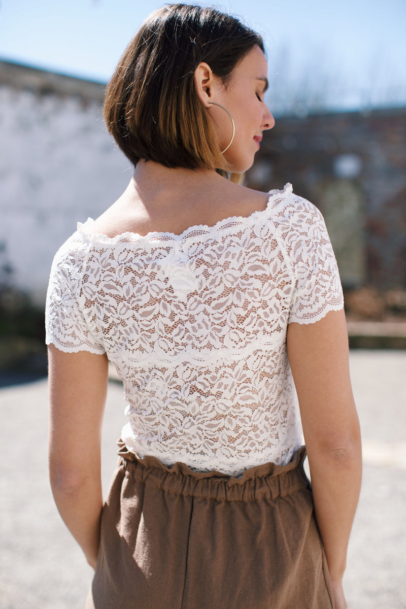 Lady In Lace Top, Ivory