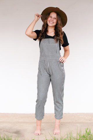 Get Going Vertical Stripe Overall Pant, Black/Cream | Women's Clothes