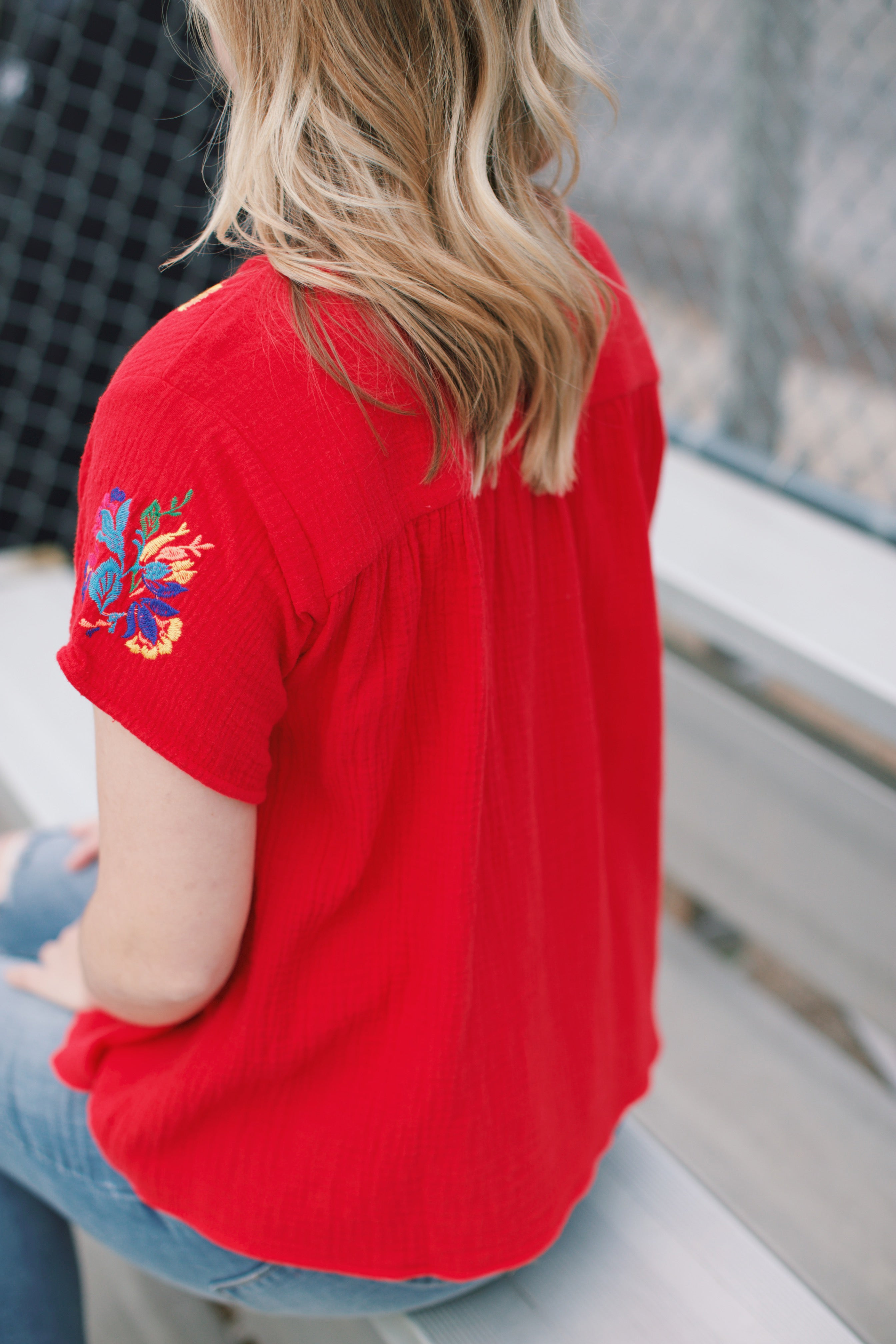 Odetta Embroidered Top, Red | Women's Embroidered Tops