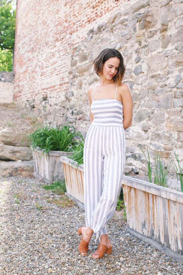 Sail Away With Me Striped Jumpsuit, Blue/White