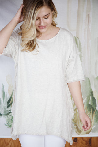 High Low Fringe Tunic, Oatmeal | Women's Vacation Basics