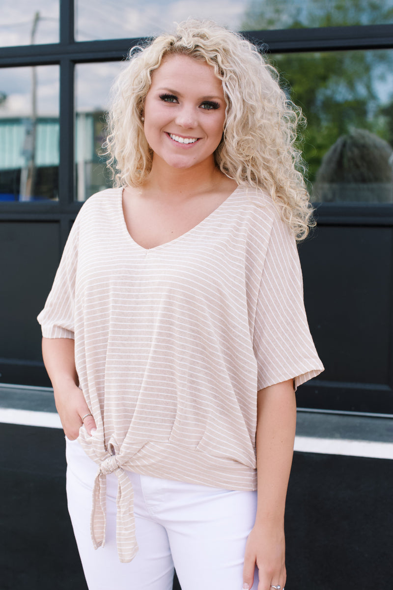 Carrie Striped Top, Stone | Plus Size