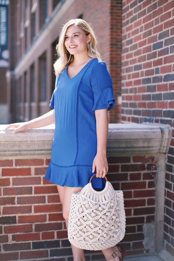 Ruffles & Lace Dress, Blue
