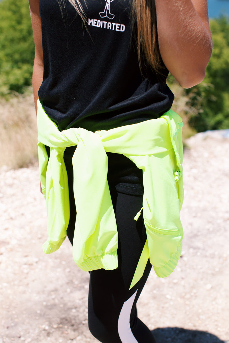 Zip Up Hoodie Jacket, Neon Yellow