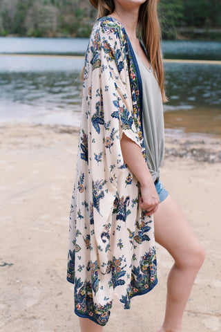 Floral Print Kimono, Oatmeal Multi | Vacation Tops