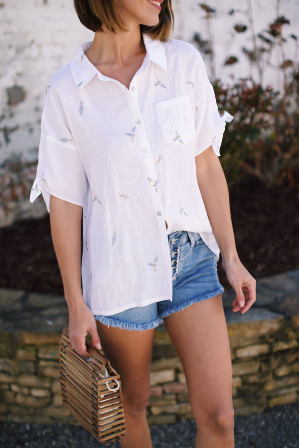 Botanical Button Down Cotton Shirt, Ivory Print