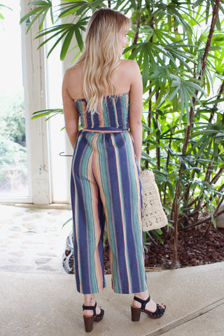 Rainbow Tube Top Jumpsuit, Multi Color