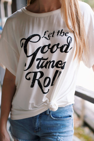 Let the Good Times Roll Tee, Ivory | Graphic Summer T-Shirts