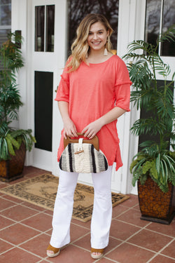 High Low Fringe Tunic, Strawberry | Women's Vacation Tops