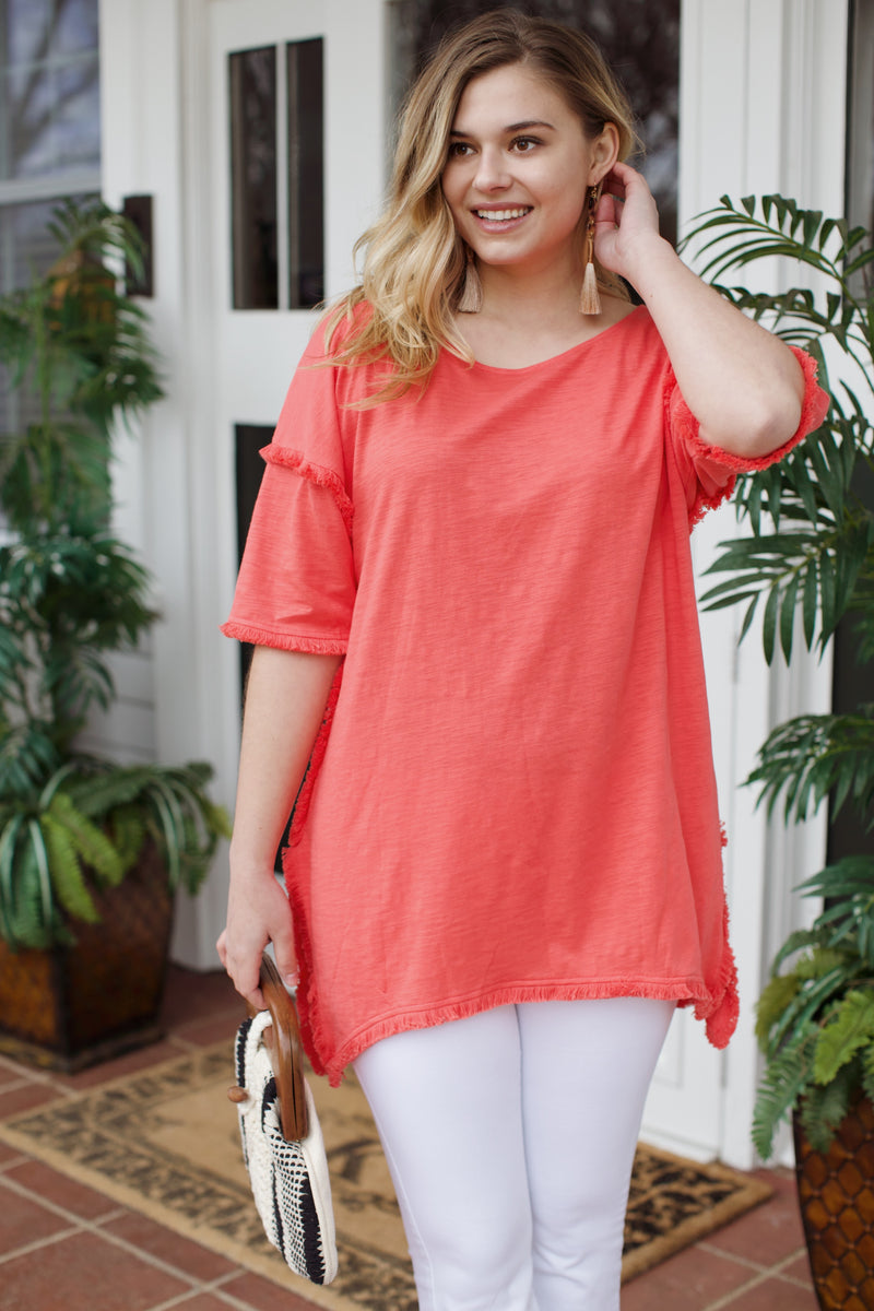 High Low Fringe Tunic, Strawberry