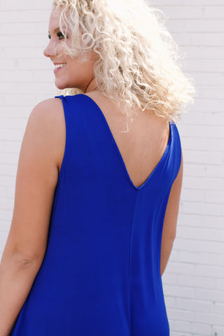 Solid Jersey Jumpsuit, Blue | Plus Size