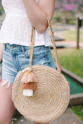 Circular Straw Bucket Bag, Natural | Beach/Vacation Bags | Women's Accessories