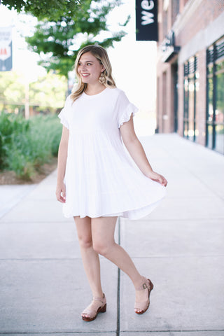 Tiered Babydoll Dress, Ivory | Boutique Dresses