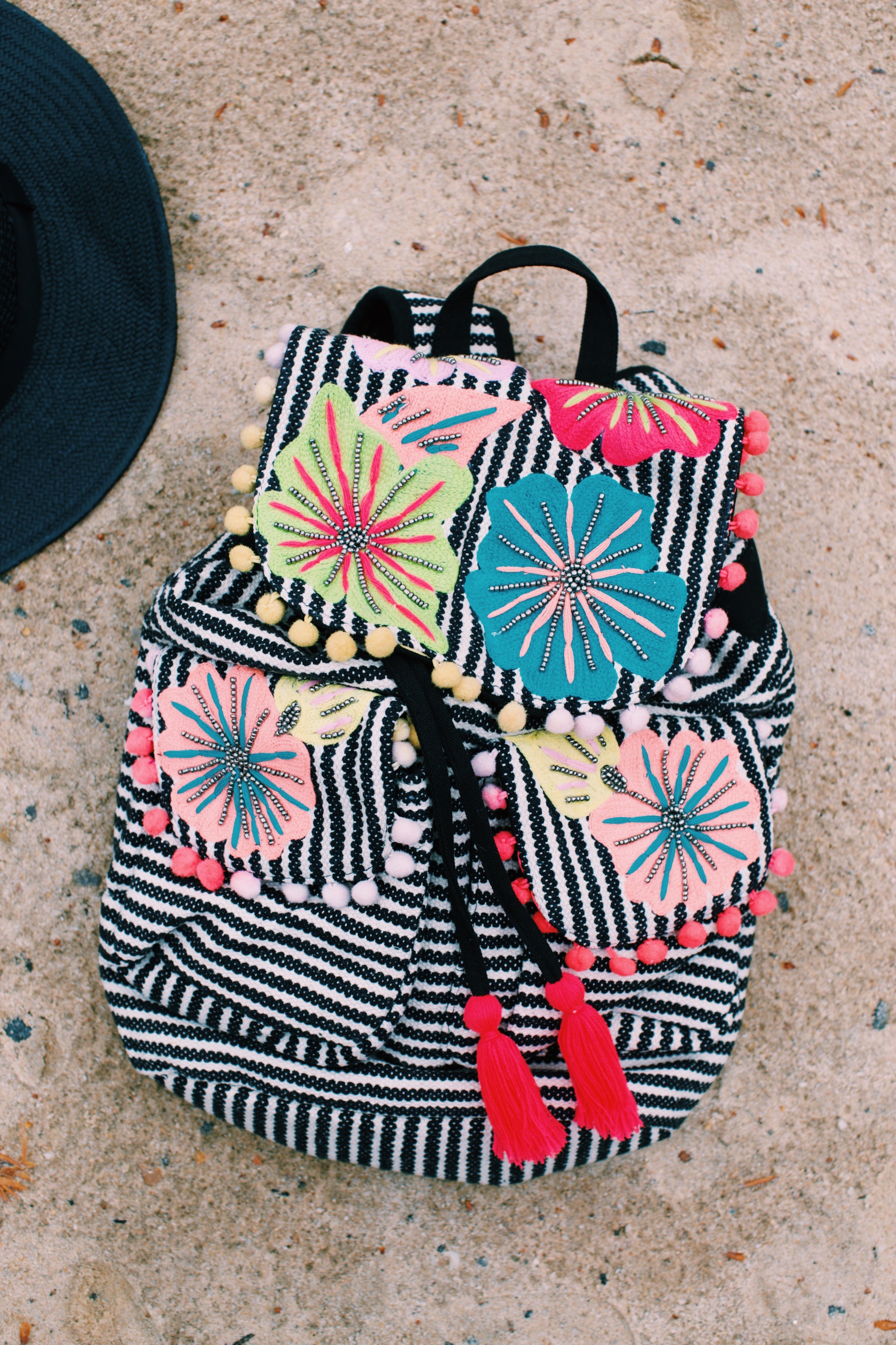 Festival Floral & Striped Backpack, Black/Cream