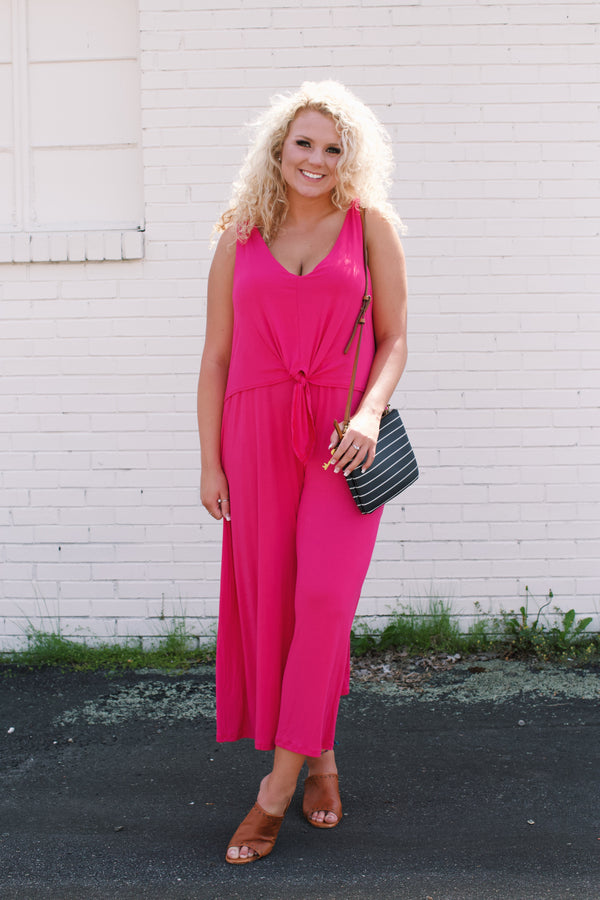 Solid Jersey Jumpsuit, Hot Pink | Plus Size
