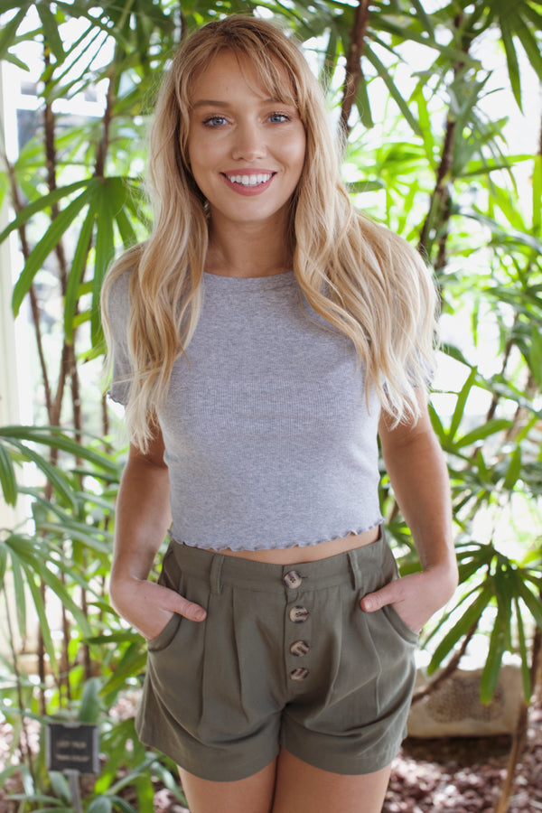 Daisy Round Neck Crop Top, Heather Grey
