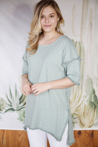 High Low Fringe Tunic, Dusty Mint | Women's Vacation Top