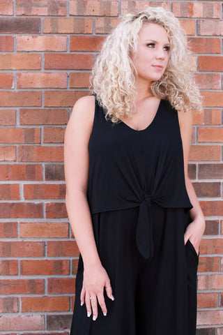 Solid Jersey Jumpsuit, Black | Plus Size