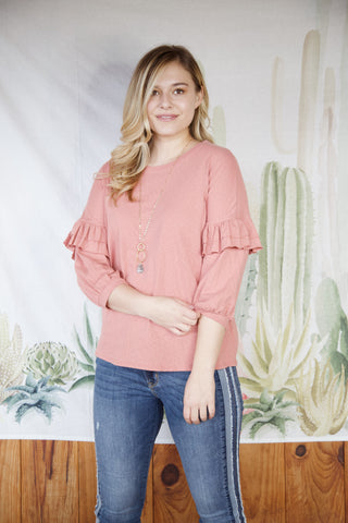 Ruth Ruffle Sleeve Top, Coral