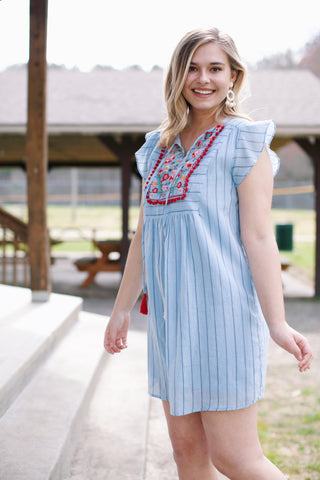 Out & About Embroidered Tunic Dress, Blue Multi | Women's Vacation Dresses