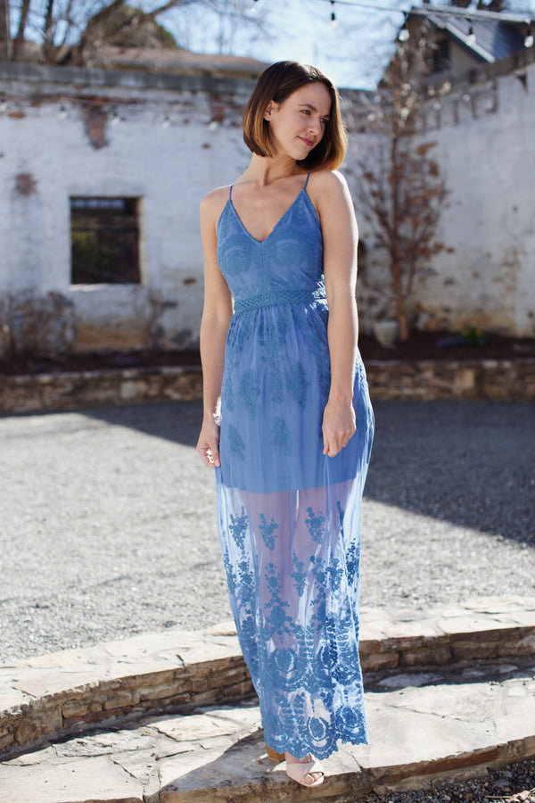 Soft Light Lace Maxi Dress, Steel Blue