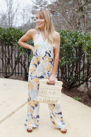 Cancun Printed Jumpsuit, Yellow Multi