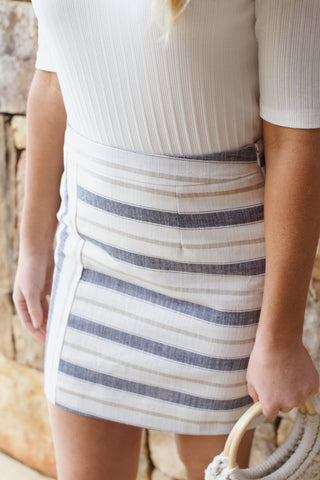 Striped Linen Skirt with Side Zip, Ivory/Denim