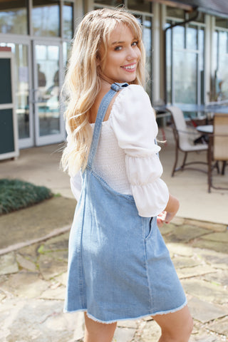 Jumper Mini Skirt Dress, Light Denim