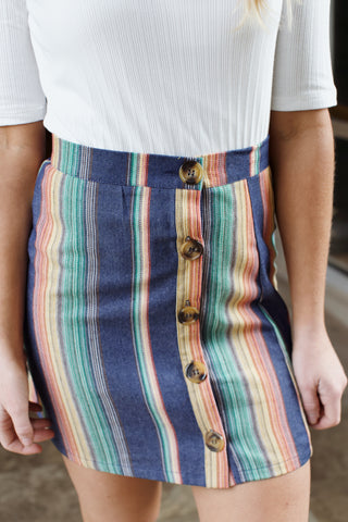 Striped Mini Skirt, Multi Color
