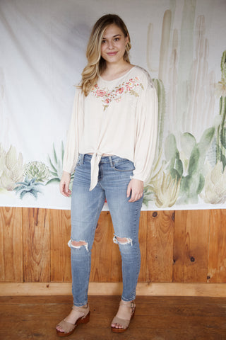 Arizona Embroidered Blouse, Tan