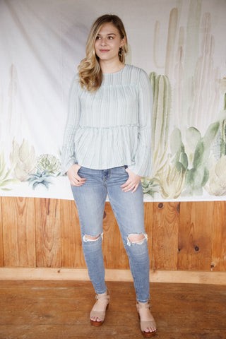 Marie Ruffles & Stripes Blouse, Sage | Women's Vacation Tops