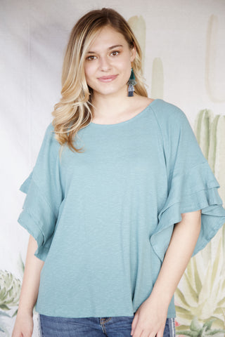 Mountainside Layered Ruffles Top, Seafoam | Women's Vacation Tops