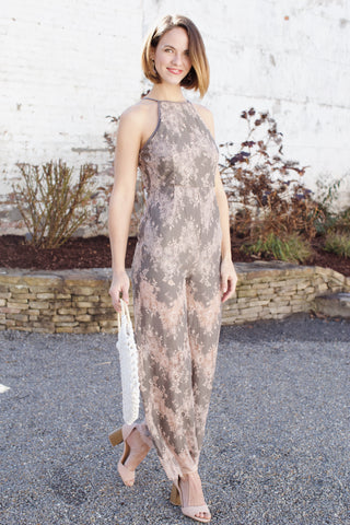 Floral Lace Dress, Taupe