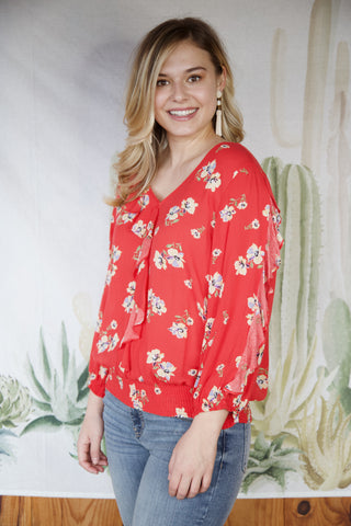 Lydia Floral Smock Top, Poppy Red | Democracy | Women's Vacation Tops