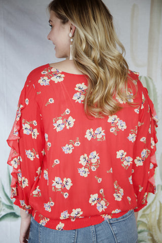 Lydia Floral Smock Top, Poppy Red | Democracy